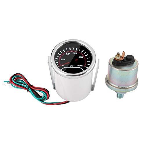 Vikenar 52mm / 2in Universal Car Öldruck Guage Systemtester 0-100PSI Digital Meter 12V White Light