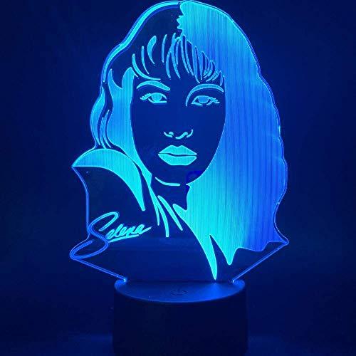 Lámpara de ilusión 3D Luz de noche LED Celebrity Selena Gomez para la decoración de la habitación de la oficina en casa Ventiladores Lámpara de mesa de color variable Los mejores regalos de vacac