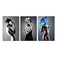 """バタフライガールアートウーマン抽象キャンバス絵画壁アートポスタープリントモダンな写真リビングルームの家の装飾ポスター50x70cm / 19.7""""x27.6"""" X3フレームレス"""