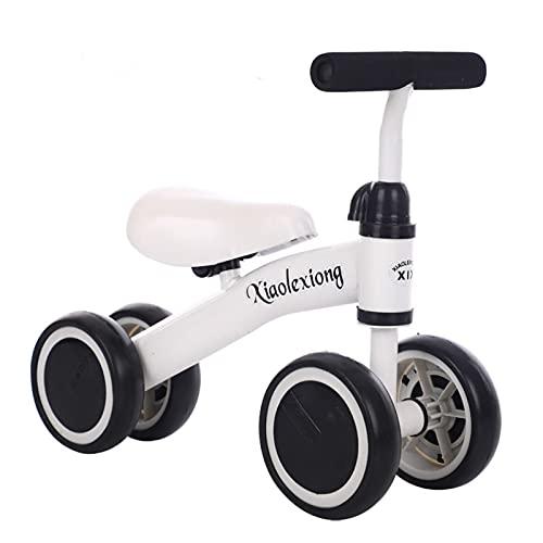 AMELIA BIVE Balance Bike Bike TRICYLER Tricycle Bike Sin Pedales 10-24 Meses Juguetes de Viaje, Baby Walker Balance Bike con 4 Ruedas,Blanco