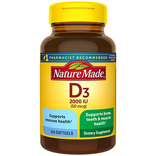 Nature Made Vitamin D3, 250 Softgels, Vitamin D 2000 IU (50 mcg) Helps Support Immune Health, Strong Bones and Teeth, & Muscle Function, 250% of the Daily Value for Vitamin D in One Daily Softgel