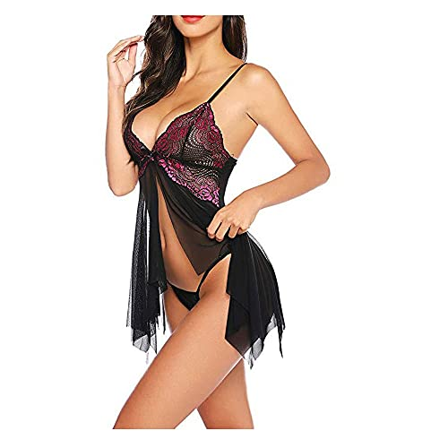 WemaSoo6 Lenceria Mujer Sexy eróticas, Lenceria Mujer Sexy Barata Tangas sexys Mujer Lenceria erótica Mujer Sexy Abierta Entrepierna(Rosa roja) (Size : Medium)