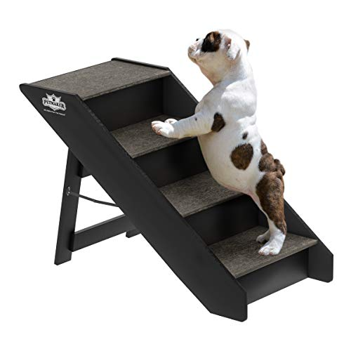 PETMAKER 80-PET6147 Folding Pet Stairs-Carpeted Foldable Durable Wood Steps-Compact, Portable, Sturdy for Home or Travel, Dogs, Cats, Petsup to 80Lbs, 4 Step