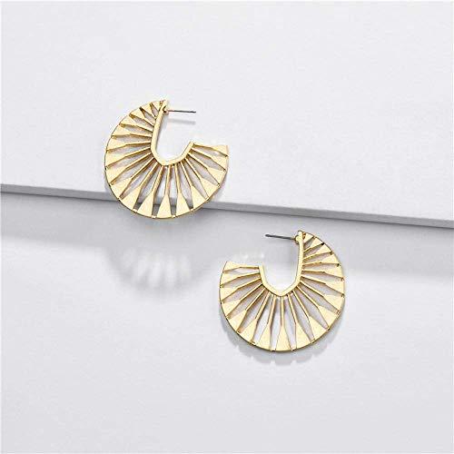 WMYATING Los pendientes son de moda y hermosos, los pendientes de aro de metal chapados en oro para mujer de la marca Erin chapados en plata de aleación de zinc grandes