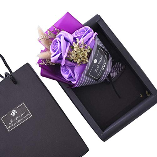 Blue Vesse Valentinstag DIY Seife Blumengeschenk Rose Box Bouquet Hochzeit Home Festival Geschenk Pfingstrose Imitation Flower Family Home Decoration