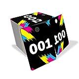 MIFFLIN Cartes de vente en direct, étiquettes de suspension en plastique réutilisables avec image miroir normale et inversée, cartes de suspension en PVC colorées et accrocheuses (noir, 001-100)