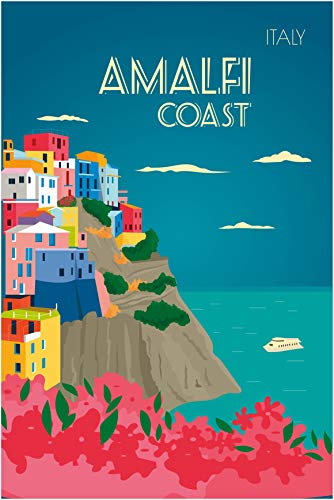 EzPosterPrints - Retro World Famous City Posters - Decorative, Vintage, Retro, Grunge Travel Poster Printing - Wall Art Print for Home Office - Amalfi Coast, Italy - 12X18 inches