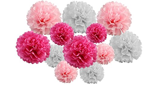 pack of 12 Pack Mixed Tissue Paper Pompom Pom Pom Hanging Garland Wedding Party Decorations (Hot Candy Pink Shade, mix 8' & 10' (20 cm & 25 cm))