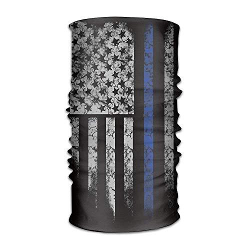 dingjiakemao USA Thin Blue Line Flag Crack Quick Dry Microfiber Headwear Outdoor Magic Bandana As Neck Gaiter Head Wrap Headband Scarf Face Mask Ultra Soft Elastic One Size