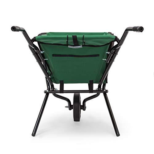 Relaxdays Schubkarre faltbar HBT 66 x 64 x 112 cm Faltschubkarre aus Stahl mit Korb aus stabilem Polyester ca. 56 l Fassungsvermögen platzsparende Gartenkarre zum Aufhängen belastbar bis 30 kg, grün - 5