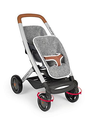 Smoby 253204 Twin Sports Grey 42 cm Pram for Two Dolls in Quinny Design, for Children from 3 Years, Gray