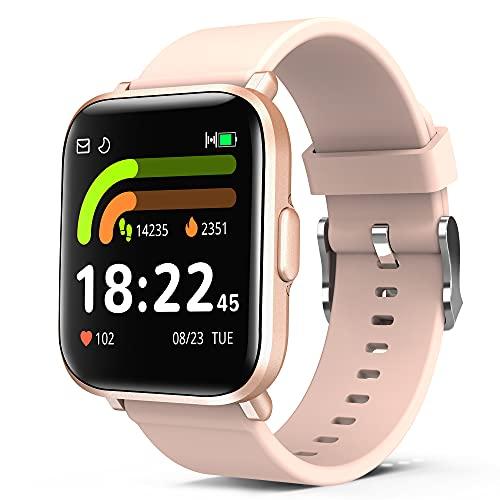 Smartwatch Ftiness Reloj Inteligente Medición de Oxígeno en Sangre Presión Arterial Frecuencia Cardíaca y Monitoreo del Sueño Rastreador de Ejercicios a Prueba de Agua Para 18 Deportes
