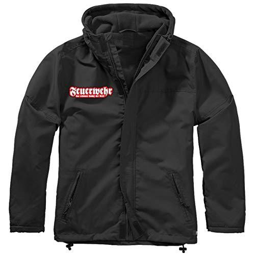 Spaß kostet Männer und Herren Gefütterter Windbreaker Jacke mit Aufnäher Feuerwehr Größe S bis 7XL