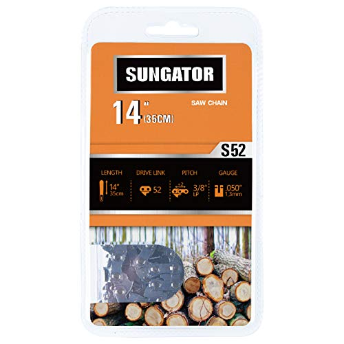 """SUNGATOR 14-Inch Chainsaw Chain SG-S52, 3/8"""" LP Pitch - .050"""" Gauge - 52 Drive Links, Compatible with Craftsman, Poulan, Ryobi, Homelite, Echo and More"""
