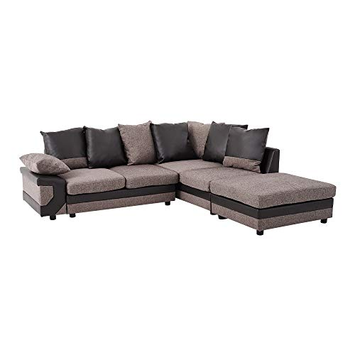 Panana 4 Seater Sofa L Shaped Corner Group Sofa Fabric and Leather Upholstered Sofa Settee Left or Right Chaise Couch with Footstool for Living Room (Brown and Black)
