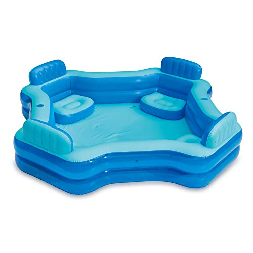 Summer Waves KB0706000 8.75ft x 26in Outdoor Inflatable Ring Above Ground 4 Person Deluxe Comfort Swimming Pool with Backrests and Cupholders