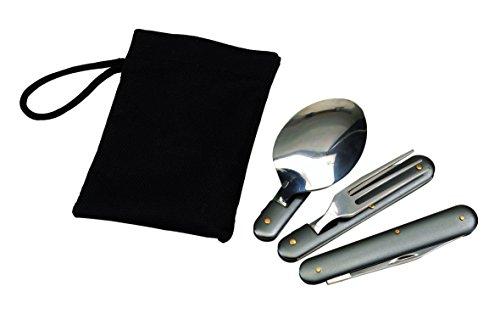 Couverts pliables en acier inoxydable avec étui Cuillère Fourchette Couteau Décapsuleur et Ouvre-boîte Pour le camping et l'extérieur