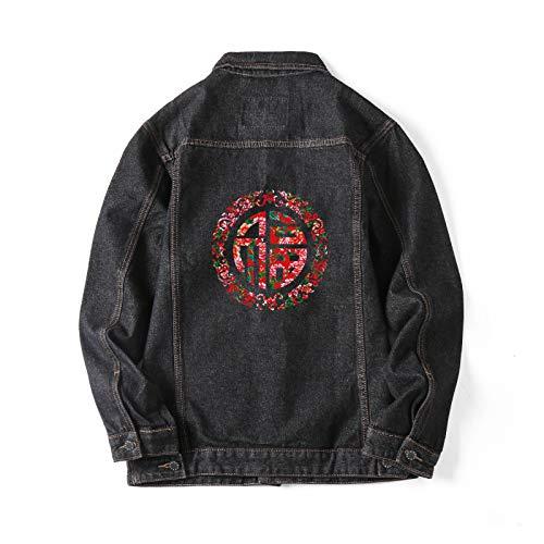 yxr La marca de moda más el tamaño de los hombres de primavera nuevo impreso de mezclilla chaqueta de los hombres de tendencia versión coreana de color sólido chaqueta suelta, 5002-25 negro, XXL