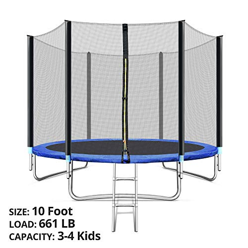 TRIPLETREE Trampoline with Safe Enclosure Net 10-Foot, 661 LB Capacity for 3-4 Kids, Waterproof Jump Mat, Ladder for Indoor and Outdoor, Blue (Blue)