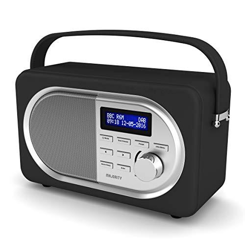 MAJORITY Shelford II Retro Tragbare Bluetooth Radio - Digital-Radio DAB/DAB+/UKW - Batterie und Netzbetrieb - Dual Wecker Weckzeiten - Schlummerfunktion und Sleeptimer - Kopfhörer-Anschluss (Schwartz)