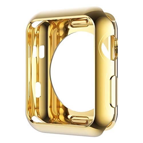 LRJBFC Funda de Silicona Suave Original para Apple Watch Series 3 Serie 3 Serie 2 Cubierta de protección de TPU chapada en Oro 42mm 38mm (Color : Gold, Dial Diameter : 38mm Series 2 3)