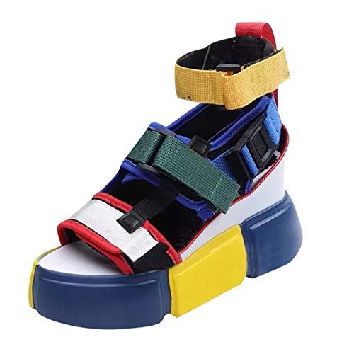 Sandalen Frauen Open Toe Platform Freizeitschuhe Wedge Colorblock Ankel Strap Sandalen (38,Mehrfarbig)