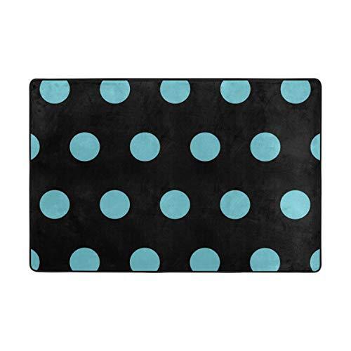FANTAZIO Ruimte Tapijt Aqua Blauw Polka Dot Rechte Tapijt Gripper voor Hoeken en Rand Anti-Curling Anti-Slip Ideaal Tapijt Stopper Voor Keuken/Badkamer 36x24in/72x48in 36 x 24 inch 1