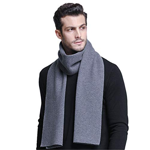 JYCDD Herren Australian Merino Wolle Plaid Strickschal - Weiche Warme Gentleman Krawatten,Medium Gray,180 * 30cm