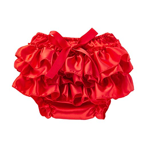 FORESTIME Girls Outfits Summer Clothes,Toddler Baby Infant Girl Bowknot Ruffle Bloomer Nappy Underwear Panty Diaper (Red,6-12 Months)