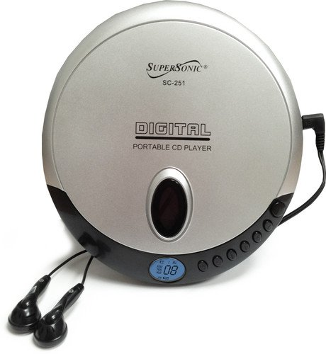 SuperSonic SC-251 Digital Portable Personal CD Player - CD-R/CD-RW Compatible, Random and Repeat Playback - Stereo Earphones Included