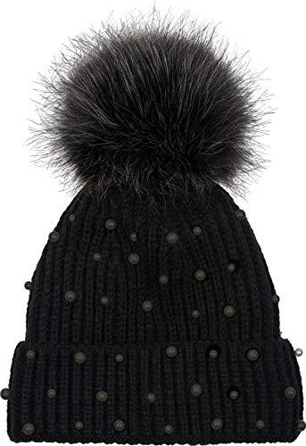 styleBREAKER Damen Strick Bommelmütze mit Perlen und Fleece Futter, warme Winter Fellbommel Mütze, Fake Fur 04024155, Farbe:Schwarz