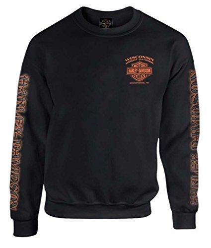 Harley-Davidson Men's Eagle Piston Fleece Pullover Sweatshirt, Black (L)