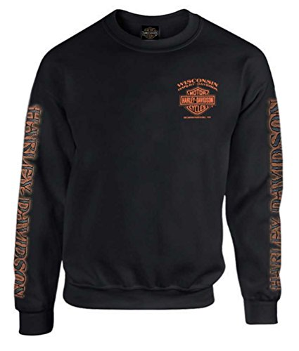 Harley-Davidson Men's Eagle Piston Fleece Pullover Sweatshirt, Black 30299948