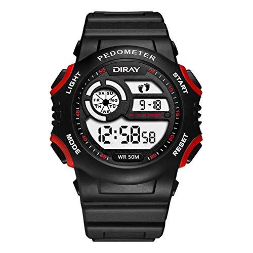 Relógio esporte szkn multifuncional luminoso com calendário, relógio pedômetro, Red black