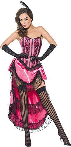 Smiffys, Damen Cancan Diva Kostüm, Schnürkorsett, Rock mit Schleppe und Kopfschmuck, Größe: M, 44003