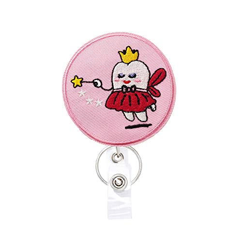 Reeleer Tooth Fairy Badge Reels Retractable, with Alligator Clip and Key Ring, 24 inches Thick Pull Cord Gift for Dentist