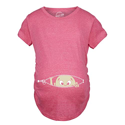 Maternity Baby Peeking T Shirt Funny Pregnancy Tee for Expecting Mothers (Pink) - M