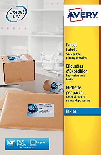 AVERY 3 X Self Adhesive Parcel Shipping Labels, Inkjet Printers, 8 Labels Per A4 Sheet, 200 labels, QuickDRY (J8165)