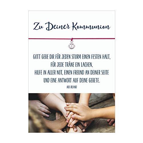 Glücksschmiedin Zu Deiner Kommunion festen Halt - Armband mit Anker Anhänger versilbert, elastischem Textilband in pink und Karte zur Kommunion