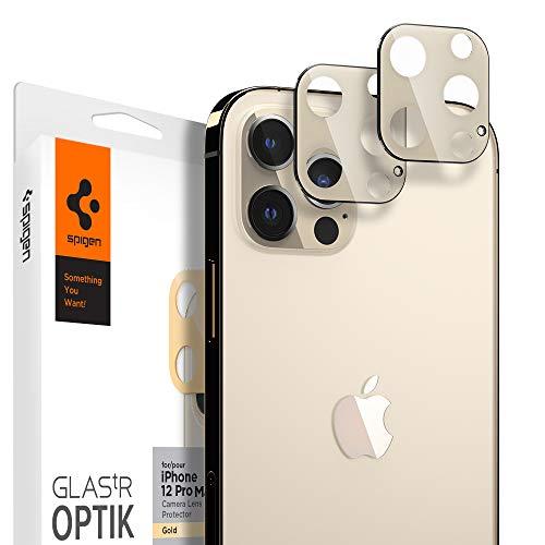 Spigen Glas.tR Optik Kamera Panzerglas kompatibel mit iPhone 12 Pro Max, 2 Stück, Gold, Anti-Kratzer, 9H Härte Schutzfolie