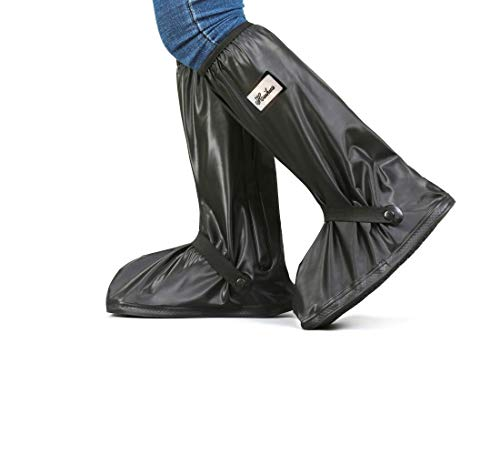 PHONEME Rain Boot Covers Waterproof Shoe Covers Reusable PVC Rubber Sole Overshoes Galoshes with Zipper, Reflector, Non-Slip, Foldable Rain Gear for Cycling Outdoor Events (XL) Black X-Large