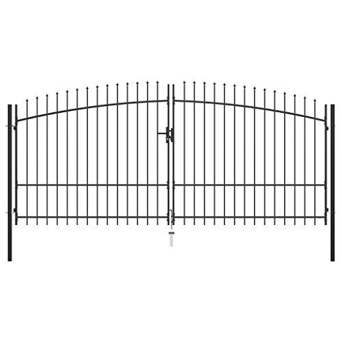 Lechnical Puerta Doble para Valla con Puntas de Lanza para Cercar Verja de Pared Puerta para Valla Robusta y Duradera Jardín 400x225 cm