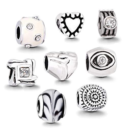 Akki Charm Angebote Beads Set Schwarz Weiß blau grün Rosa/Charms für Pandora Kompatibel Armband Silber Beads Bettelarmband Charms Modele Weiß