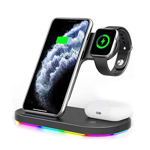 GUOYULIN Cargador Inalámbrico 3 En 1, Soporte Compatible con Apple Watch Series S6/S5/S4/S3/S2/S1/SE & Airpods 2 /Airpods Pro, Estación De Carga Inalámbrica