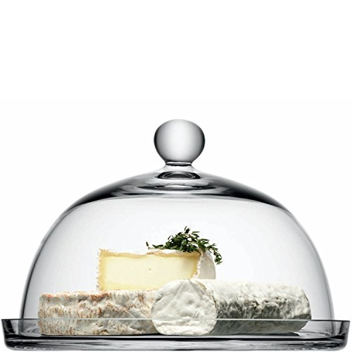 LSA International Vienna Plateau de Service avec Cloche en Verre Transparent 25 cm