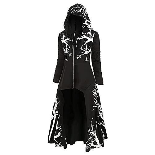 Emiao Trajes Renacentistas, Capa De Chaqueta, Cremallera De Tnica con Capucha, Vestido Retro Renacentista Medieval para Mujer