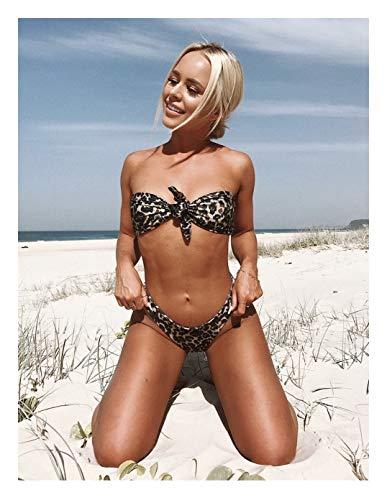 nobrand Bikini IBHT Kirsch Leoparden-Print-Bikini-Badeanzug der reizvollen Dame Badeanzug Brust Krawatte 1 (Color : 8789Leopard, Size : S)