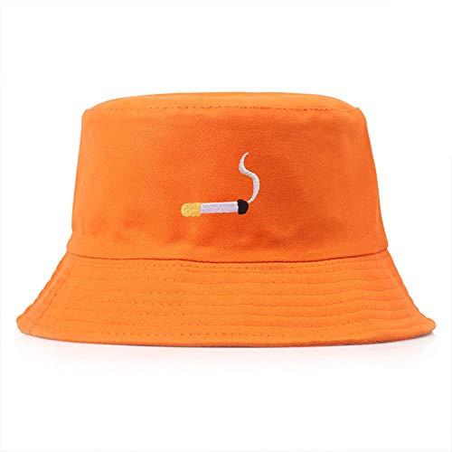 Sombrero De Copa Moda Hip-Hop Pescador Sombrero Bordado Cigarrillo Cubo Sombrero Mujer Marea Cuenca Sombrero Hombre Calle Personalidad Sombreros-Naranja