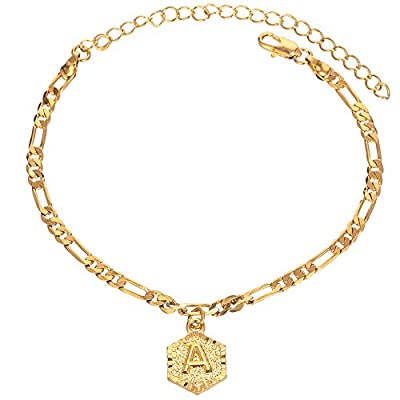 kelistom 18k Gold Plated 4mm Figaro Chain Initial Anklet for Women Fashion Ankle Bracelet with Letter Alphabet Foot Jewelry with Extension (A)