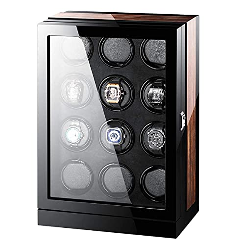 AMAFS Holz-Automatik-Uhrenbeweger-Aufbewahrungsbox mit LCD-Touchscreen Automatische Drehungen Holz-Safe Led Winder Box Uhren-Display Winder,Wandtresore Beautiful Home